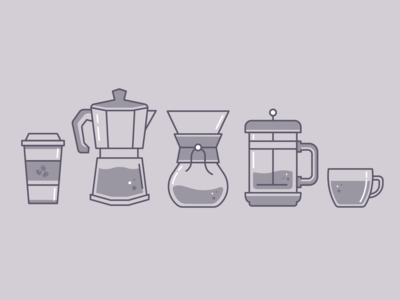 Coffee Week Illustrations line icon icons monocromatic flat color flat coffeeshop coffee illustration line art