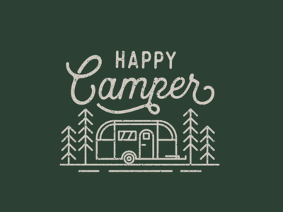 Happy Camper ames iowa linear woods camper camping camp lineart line typography illustration