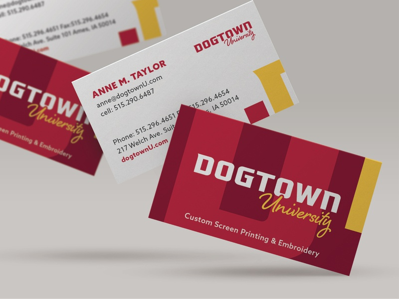 Dogtown University Business Card clothing company athletic branding athletic iowa ames sports apparel sports university branding business card stationery