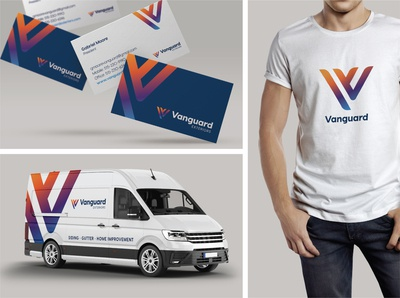 Vanguard Exteriors vehicle wrap logo brand design contractor construction business card brand identity