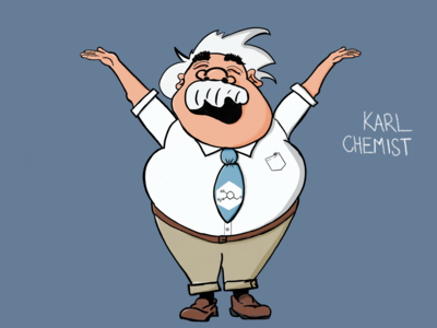 Introducing Karl Chemist character app illustration