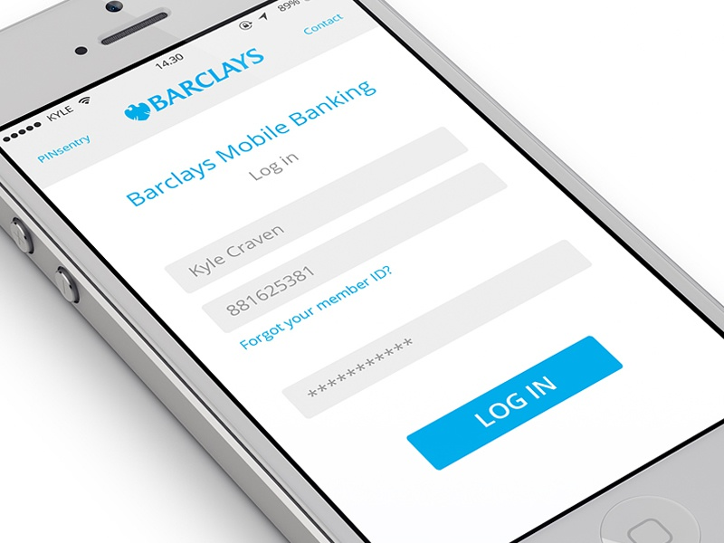 barclays mobile banking log in screen by kyle craven dribbble
