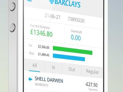 Barclays Mobile Banking Transactions barclays banking app mobile iphone ui bank app white blue money transactions