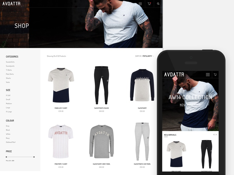 Online Shop - Avid Attire Redesign by Kyle Craven on Dribbble