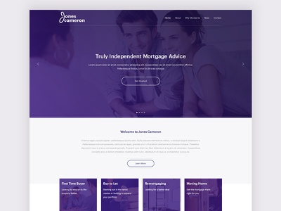 Website for Jones Cameron Mortgage Advise clean grid layout services mortgage finance purple interface home web design website