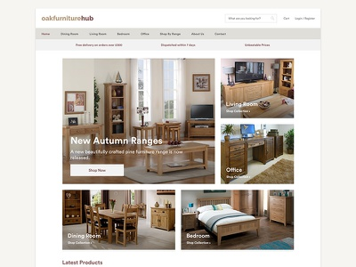 Oak Furniture Hub - Homepage icons ux brown home shop ecommerce products boxed modern website furniture oak