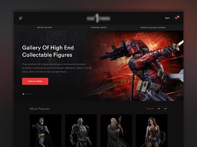 Concept homepage deadpool comics art collectibles shop ecommerce gallery dark website