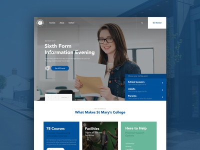St Mary's College Website pastel home page university blue website school education college