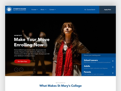 St Mary's College Website Alt Header pastel header home page university blue website school education college