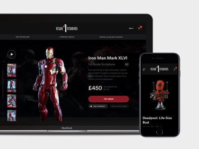 New Website Live for Issue Number One Studios  marvel homepage deadpool comics art collectibles shop ecommerce gallery dark website
