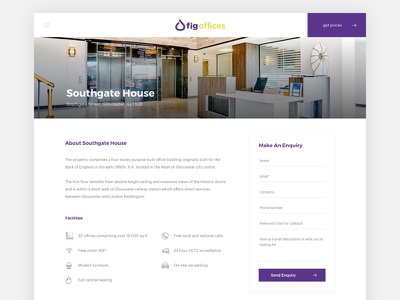 Location Page - Office Space enquiry minimal location leads form clean purple offices