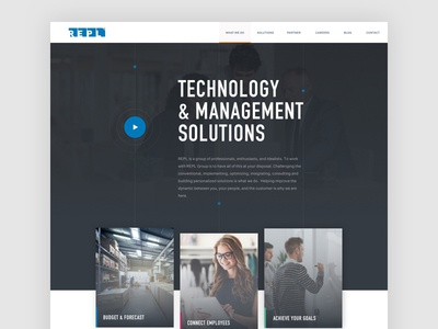 Homepage concept for a technology company