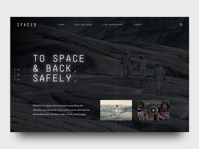 SPACED Challenge futuristic moon ui ux travel mockup concept dark homepage outer space spacedchallenge space