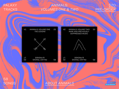 """Landing page for """"Animals"""" hoefler  co. ringside website music charity animals palaxy tracks"""
