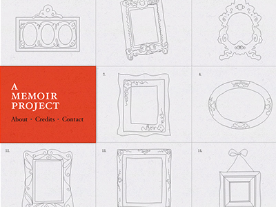 A Memoir Project — Homepage red illustration line-drawing tiles frames memoir project