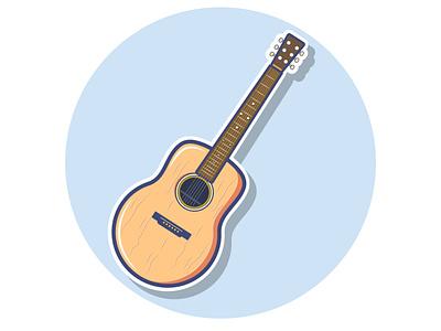 guitar guitar sticker vector illustration