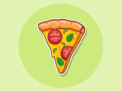 cheezy pizza sticker pizza vector illustration