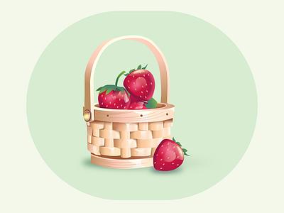fruit basket strawberry fruit fruitbasket gradient vector illustration