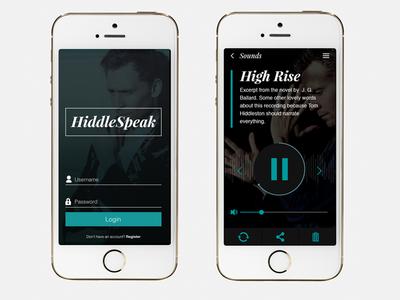 HiddleSpeak Login & Track Screen mobile ui app design audio login concept iphone player tom hiddleston