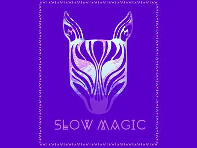 Slow Magic  animal purple color typography texture illustration tribal print mask music slow magic poster