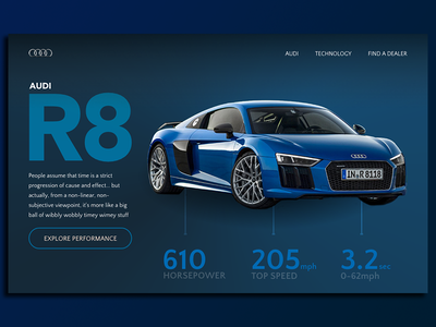 Daily UI 003 - Landing Page blue ui web landing page automotive car 003 daily ui r8 audi