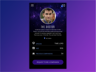 Daily UI 006 - User Profile tenth doctor the doctor doctor who 006 profile user profile mobile interface design ui daily ui