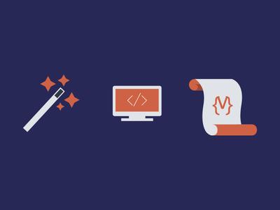 Web Magic code computer wand manifesto web flat illustration icons