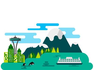 Seattle Illustration vector drawing illustration pnw cityscape seattle