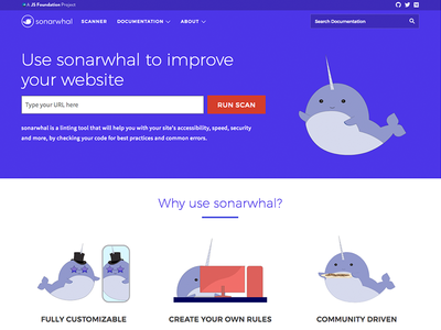 sonarwhal v1 site launch illustrations nellie the narwhal whales web open source narwhal web design website sonarwhal