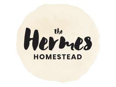 The Hermes Homestead logotype brush script hand lettering typogaphy blog logo