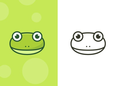 Frog icon style cartoon frog green logo