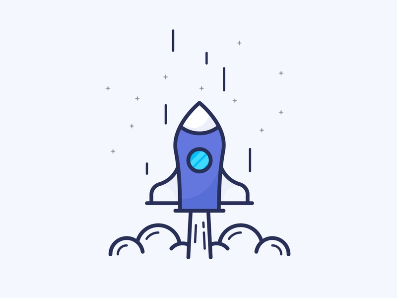 Rocket blue filled line icon icon space spaceship upsell  vector shuttle rocket startup business launch page