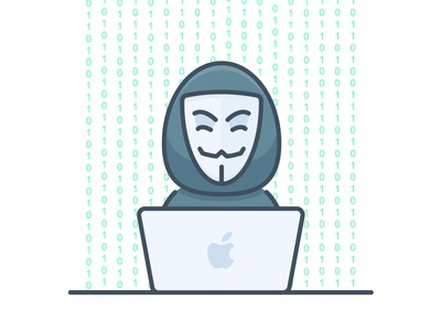 Haker laptop vector icon cybercrime private criminal crime cyber hidden face cods coding hacking anonymous hack haker