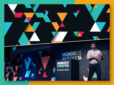 MongoDB Europe 16 Main Stage hexagon triangle geometric pattern processing events signage print mongodb brand
