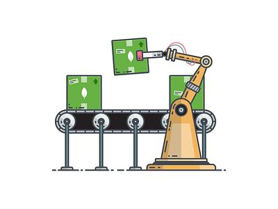 Manufacturing Illustration automate assembly conveyor robot manufacturing vector database mongodb illustration