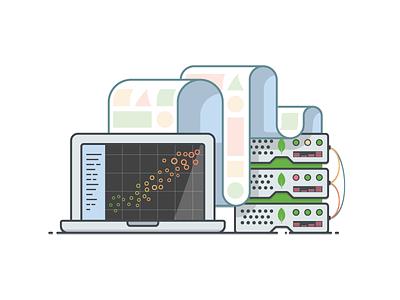 Analytics Illustration graph chart server data analytics database mongodb illustration