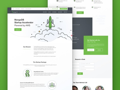MongoDB Startup Accelerator landing page web design illustration desktop startup database ux ui mongodb