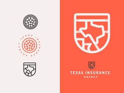 Texas Logo red insurance company shield insurance texas brand identity logo design identity typography logo type set seal mark logo icon graphic design geometric design branding brand
