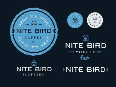 Nite Bird Logo Seal typography coffee blue bird owl brand identity logo design identity typography logo type set seal mark logo icon graphic design geometric design branding brand