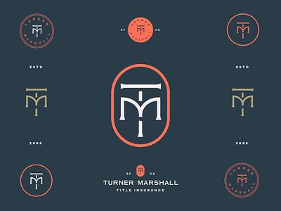 TM Logo freelance designer monogram red insurance brand identity logo design identity typography logo type set seal mark logo icon graphic design geometric design branding brand