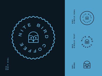 NITE BIRD Logo night blue owl brand identity logo design identity typography logo type set seal mark logo icon graphic design geometric design branding brand