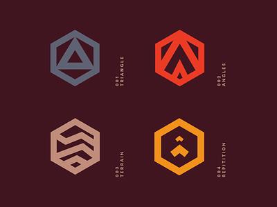 Mountain Icons red mountain brand identity logo design identity typography logo type set seal mark logo icon graphic design geometric design branding brand