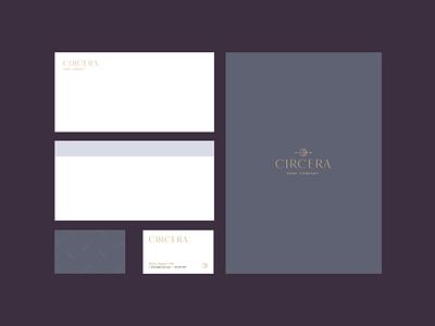 Circera Hemp Company business card suite flat hemp moon brand identity logo design identity typography logo type set seal mark logo icon graphic design geometric design branding brand