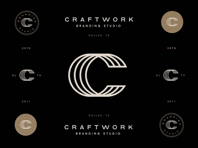 Craftwork Logo concept black gold c brand identity logo design identity typography logo type set seal mark logo icon graphic design geometric design branding brand