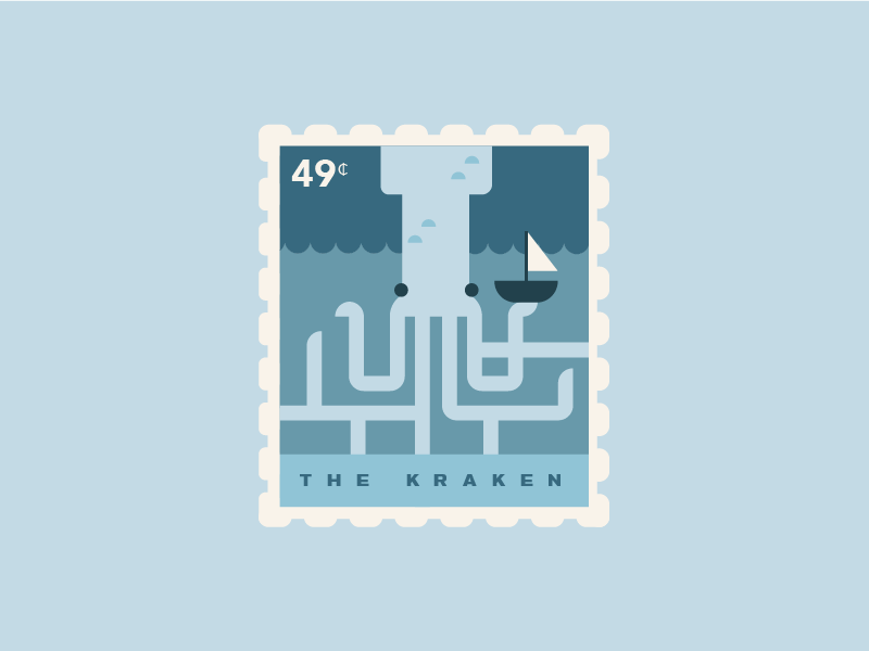Release the Kraken flat geometric kraken stamp linear ship sea monster squid octopus