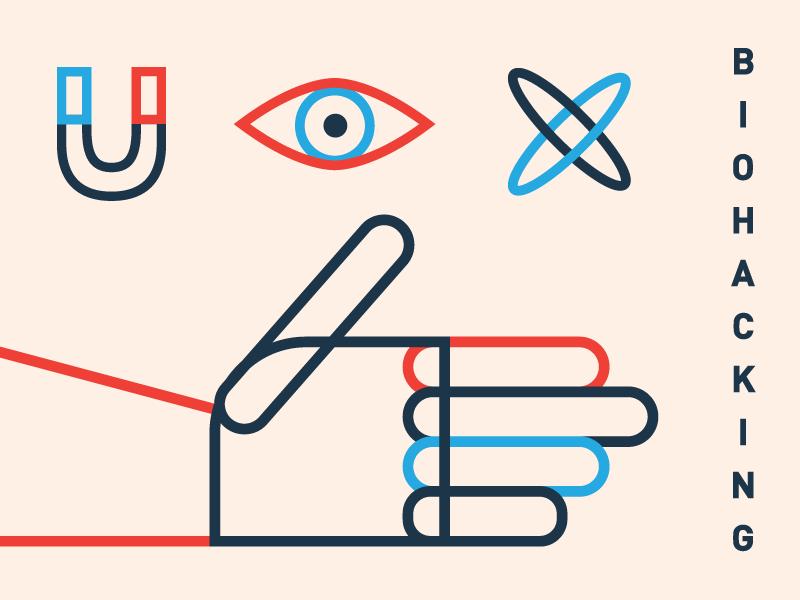 Biohacking minimal flat vector atom eye type character art art director illustrator illustration