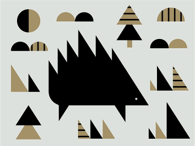 Porcupine black gold pattern spike nature triangle geometric illustration animal hedgehog porcupine