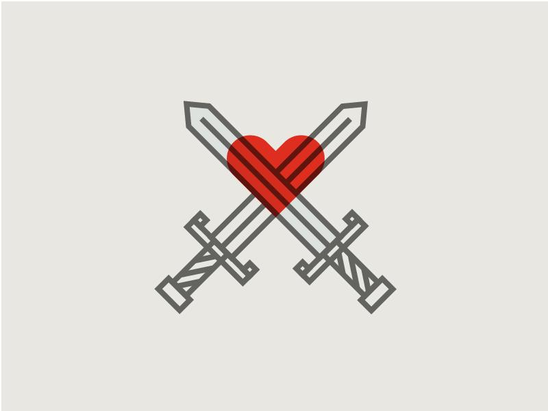 Slay cross effect multiply illustration logo icon art line shape heart sword slay