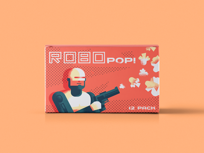 RoboPOP! illustration typography vintage product fun packaging package popcorn robot fi sci robocop