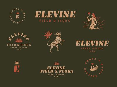 Elevine Field & Flora mark type tiger earth floral drawing illustration logo typography flower hand
